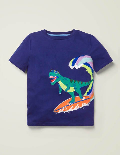 T-Shirt mit Dinosaurierapplikation