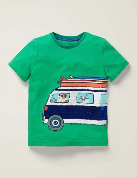 Colour-change Sequin T-shirt - Emerald Green Surf Van