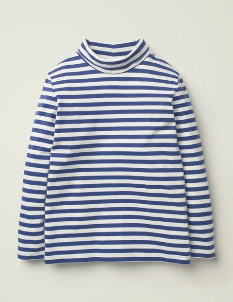 Roll Neck Supersoft T-Shirt - Ivory/College Navy
