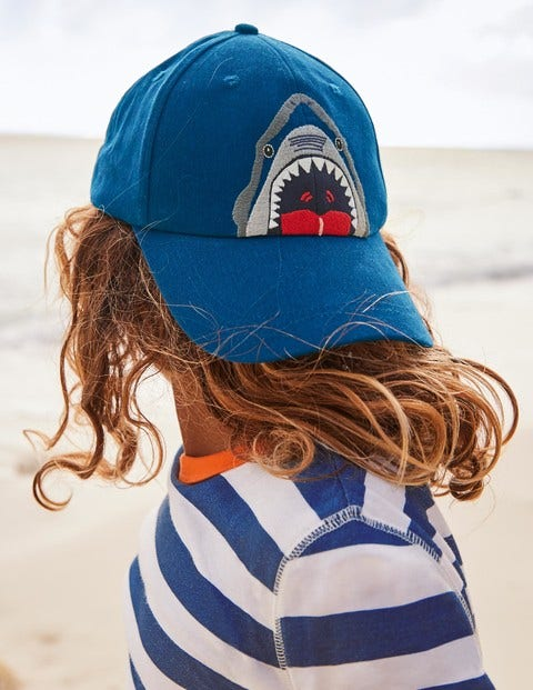 Embroidered Shark Cap - Bold Blue