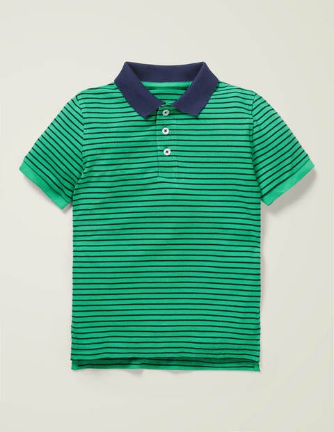 Piqué Polo Shirt - Pea Green/College Navy