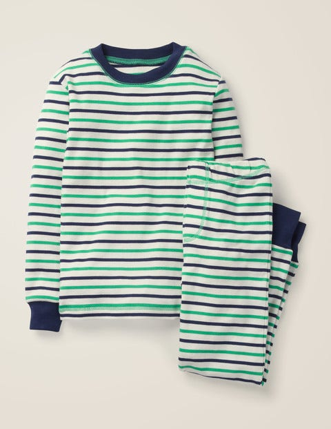 Cosy Long John Pyjamas - Ecru/Astro Green
