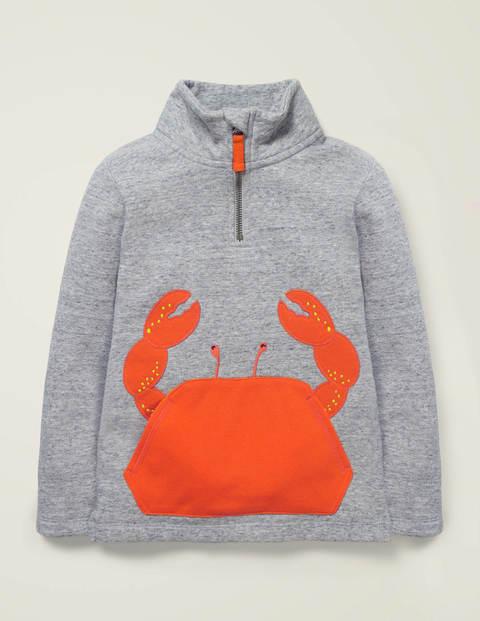 Half-zip Appliqué Sweatshirt - Grey Marl Crab