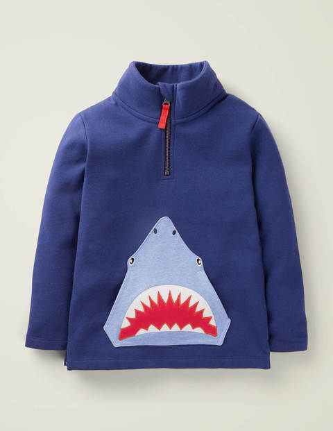 Half-Zip Appliqué Sweatshirt - College Navy Shark