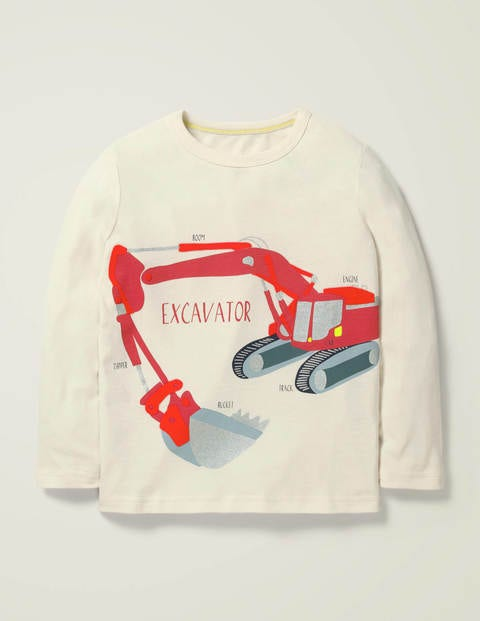Flock Vehicle T-Shirt - Ivory Excavator