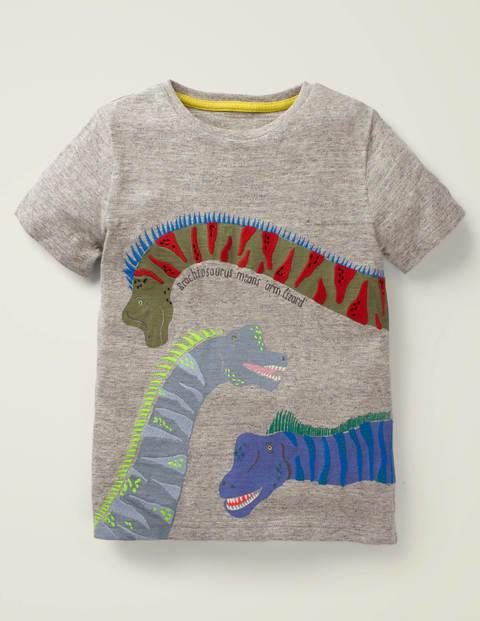 T-Shirt Mit Tierfaktenapplikation - Grau Meliert, Dinos