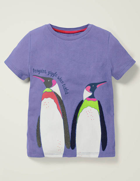 Animal Fact Appliqué T-Shirt - Wisteria Blue Penguins