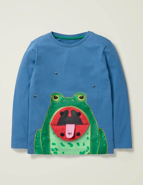 Novelty Long Sleeve T-Shirt - Sea Mist Blue Frog