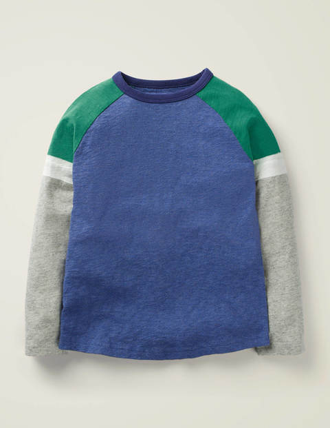 Sportliches Raglan-Shirt - Blau Meliert/Grau Meliert