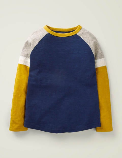 Sporty Raglan T-Shirt - College Navy/Tuscan Sun Yellow