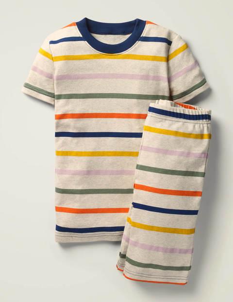Cosy Short John Pyjamas - Oatmeal Marl/Rainbow