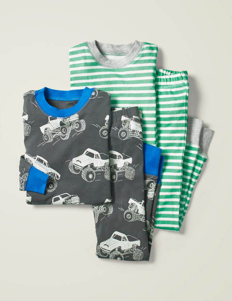 Twin Pack Long Pyjamas - Smoke Grey Monster Trucks