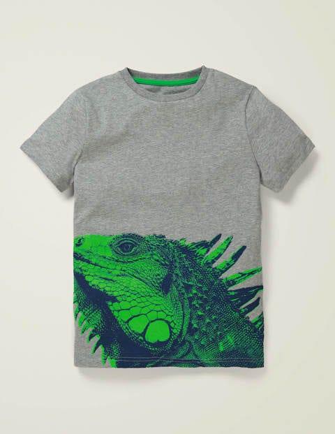 Photographic Animal T-Shirt - Mid Grey Jaspé Iguana