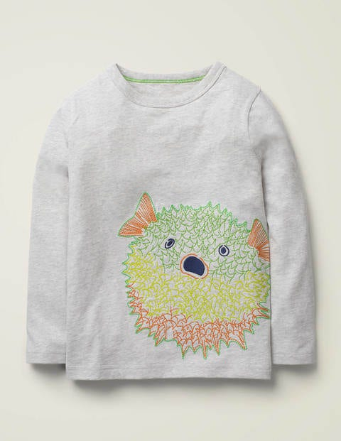 Superstitch Sealife T-Shirt - Grey Marl Puffer Fish