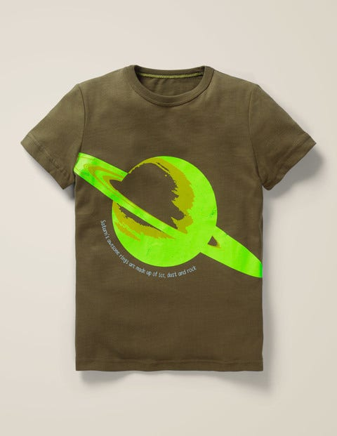 Glowing Planet T-Shirt - Khaki Green Saturn