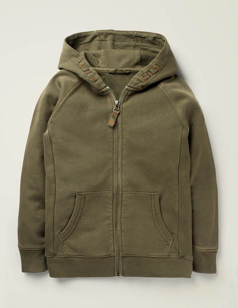 Garment Dye Zip-Up Hoodie - Khaki Green