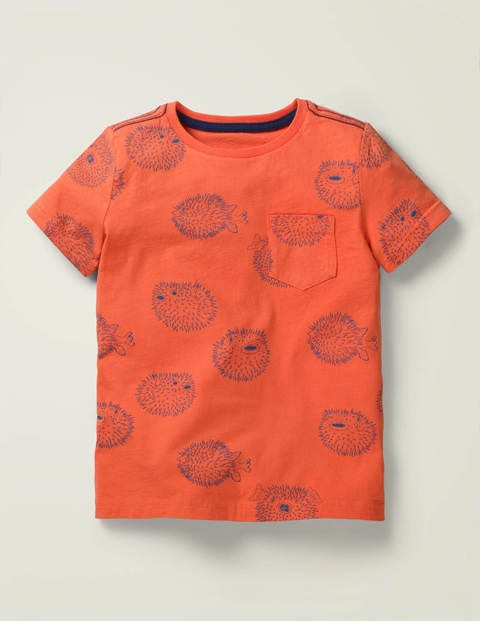 Under-The-Sea Printed T-Shirt - Fizzy Apricot Pufferfish