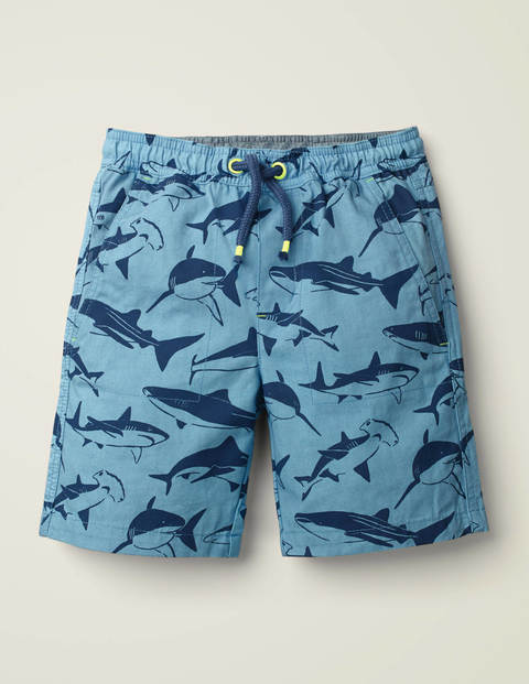 Washed Canvas Pull-On Shorts - Surfboard Blue Sharks