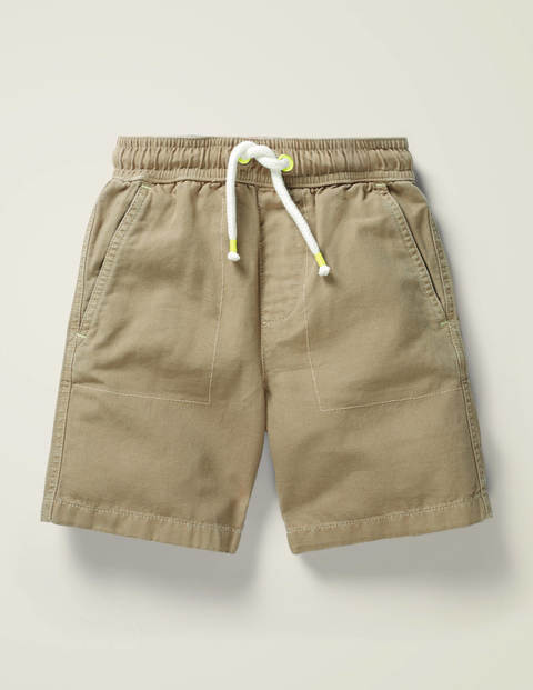 Washed Canvas Pull-on Shorts - Cappuccino Brown