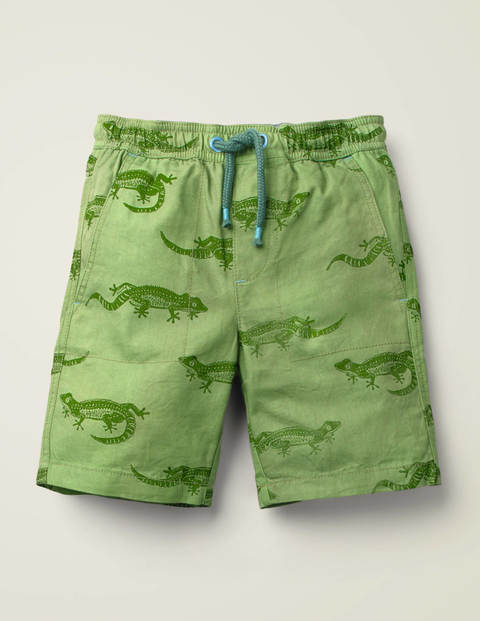 Washed Canvas Pull-On Shorts - Broccoli Green Geckos