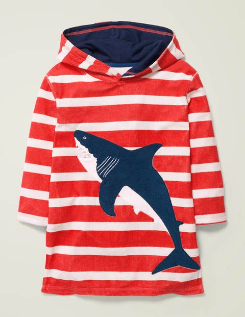 Towelling Throw-On - Orange Red/White Shark