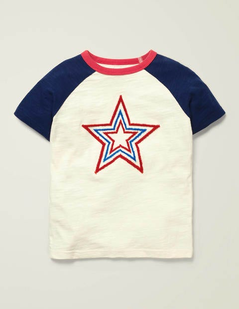 Textured Star Raglan T-Shirt - Ivory