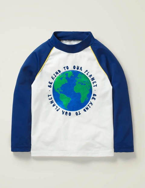 Natural World Rash Vest - White/Deep Sea Blue