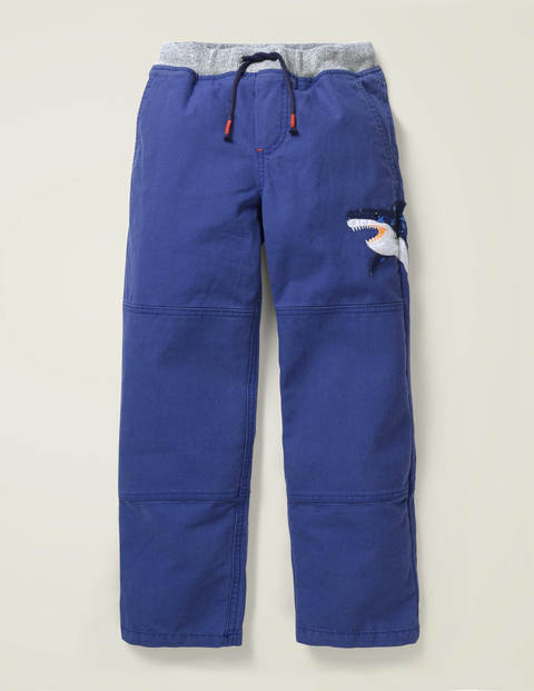 Appliqué Pull-on Trousers - Starboard Blue Shark