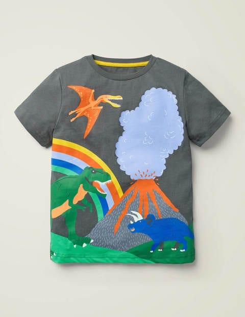 Tropical Scene T-Shirt - Smoke Grey Dinosaur
