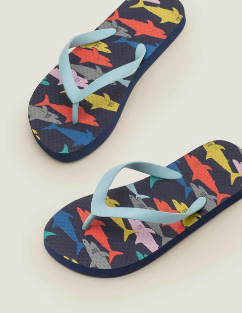 Printed Flip Flops - Multi Mini Rainbow Sharks