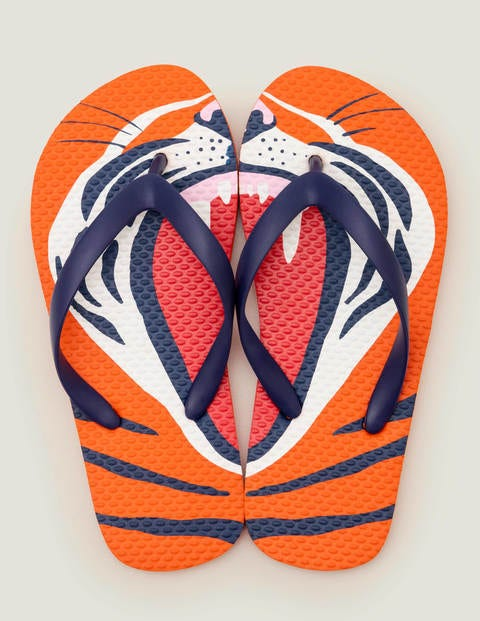 Printed Flip Flops - Salmon Roe Orange Tiger