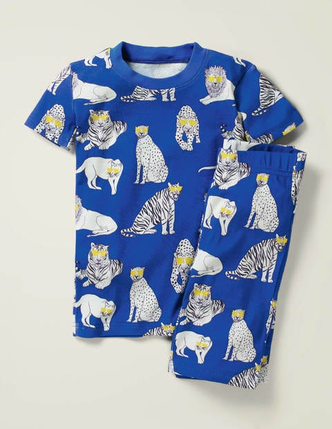 Glow-in-the-dark Short Johns - Bold Blue Cool Cats