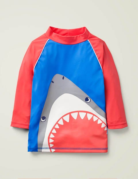 Printed Rash Vest - Pool Blue Shark