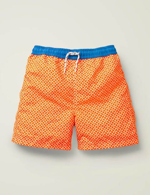 Short de bain - Motif losanges géométriques orange intense