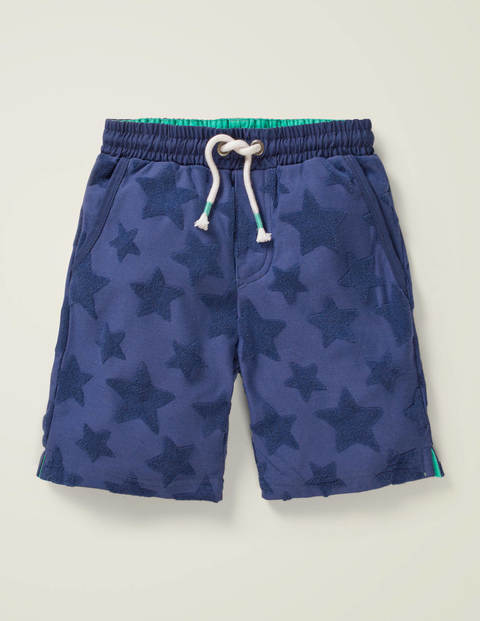 Textured Sweatshorts - Navy Jacquard Star