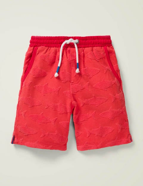 Textured Sweatshorts - Red Jacquard Sharks