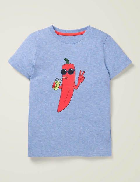 T-Shirt mit Obst- und Gemüsemotiv - Meerblau Meliert, Chilischote