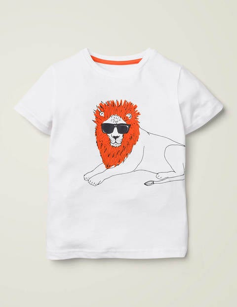 Cool Cat Flocked T-Shirt - White Lion