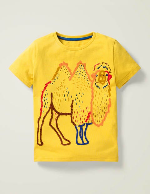 Wild Animal Stitch T-shirt - Daffodil Yellow Camel