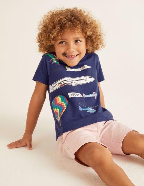 T-Shirt mit applizierten Fahrzeugen - Indigoblau, Flugobjekte