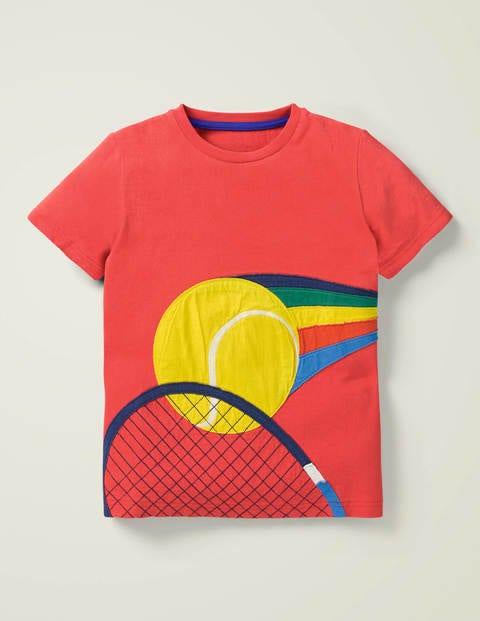 Sports Appliqué T-Shirt - Cherry Tomato Red Tennis