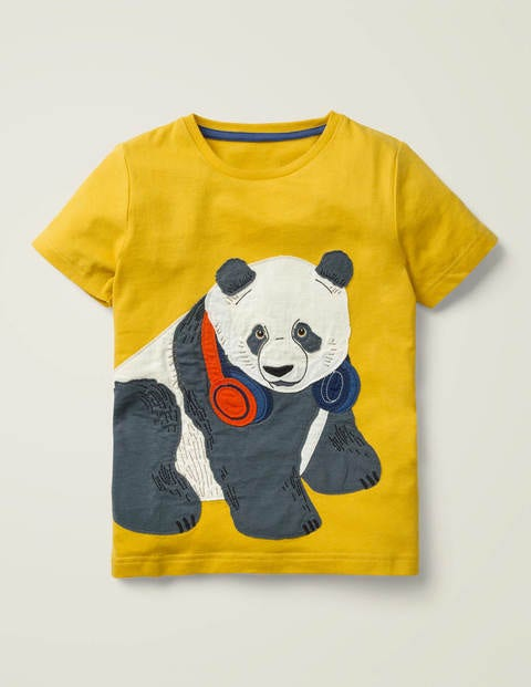 Animal Appliqué T-Shirt - Daffodil Yellow Panda