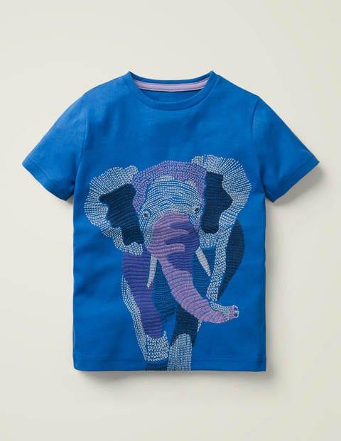 Oberteil mit Superstitch-Tieren - Kräftiges Blau, Elefant