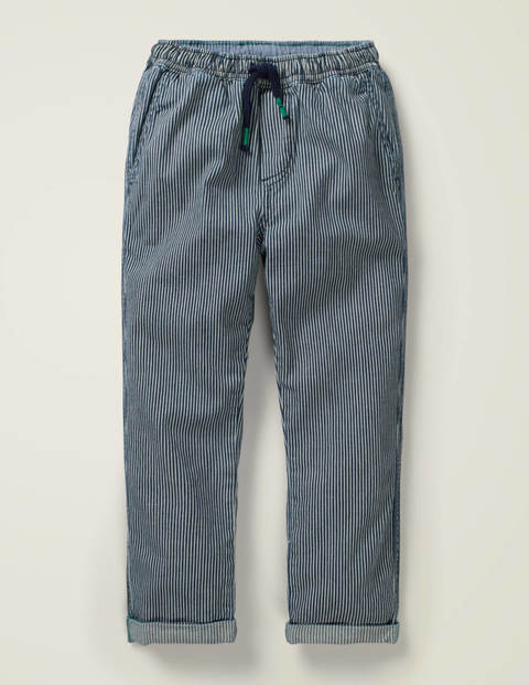 Summer Pull-on Trousers - Violet Blue Ticking