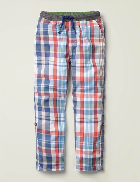 Surf Roll-Up Pants - Blue/Red Madras