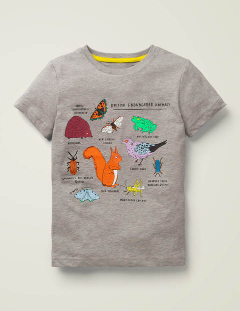 Animals Printed T-Shirt - Silver Grey Marl Animals