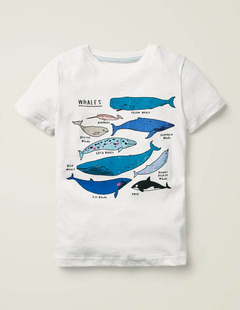Animals Printed T-Shirt - White Whales