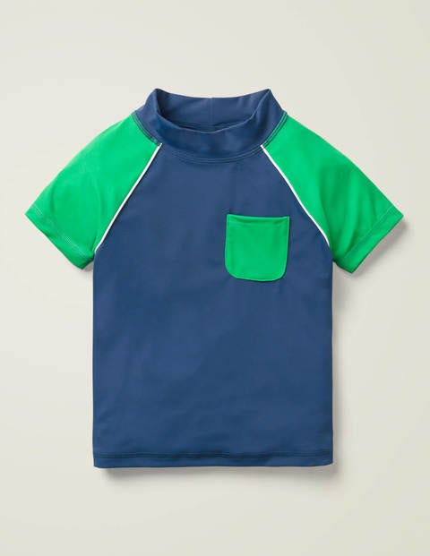 Short-Sleeved Rash Vest - Deep Sea Blue/Shamrock Green