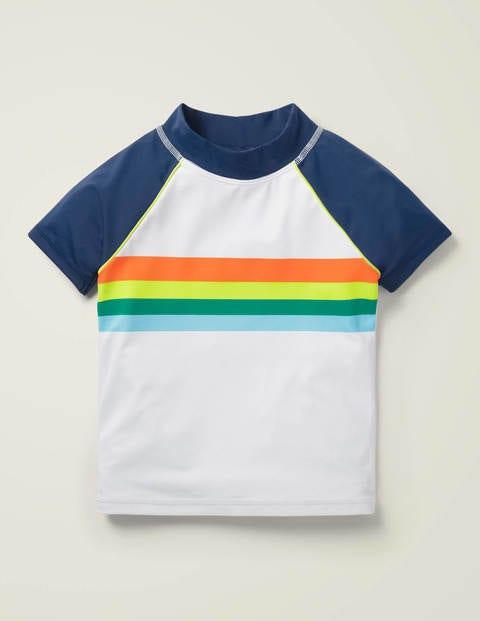 Short-sleeved Rash Vest - White/Navy Rainbow