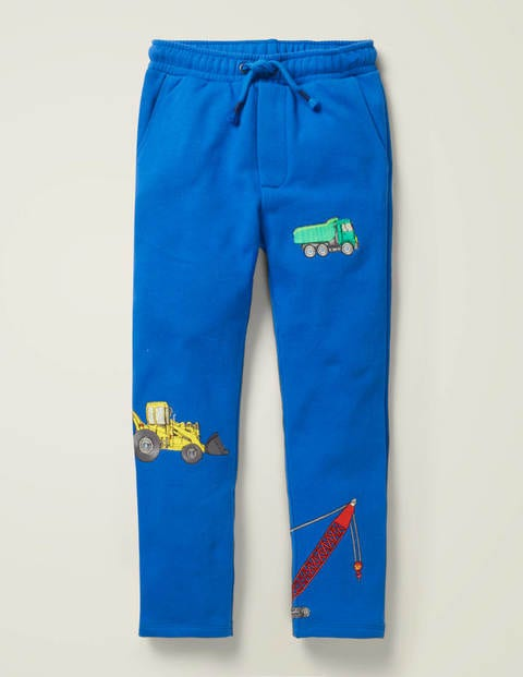 Appliqué Fun Joggers - Bold Blue Vehicles